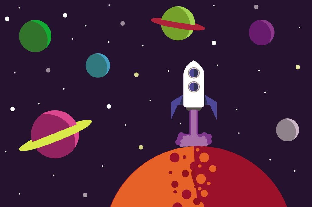 moon, planets, spaceship